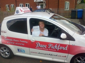 Congratulations to Denise Slattery-Curran who passed her Automatic Driving Test at Norwich MPTC Well done a good drive especially considering how nervous you were Im glad a pit stop at Dis for a hot chocolate helped lol remember to Stay Safe