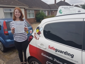 Congratulations to Alice on Passing her Automatic Driving Test this morning at #Norwich MPTC in #TPDCBumble <br />