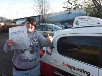 Congratulations to Amy Eagle on passing her Automatic Driving Test this afternoon at ‪#‎Norwich‬ MPTC in ‪#‎Bumble‬<br />