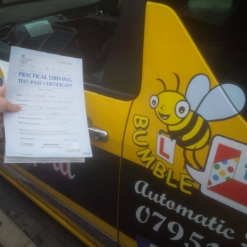 Congratulations to another camera shy one lol Cassandra Cassie who passed her Automatic Driving Test this afternoon at Norwich MPTC in ‪#‎Bumble‬<br />