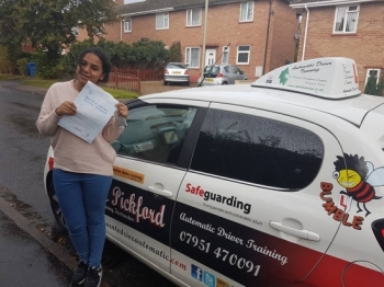 Congratulations to Farhana on Passing her Automatic Driving Test this morning at #Norwich MPTC in #TPDCBumble <br />