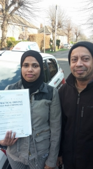 Congratulations to Fatema on passing her Automatic Driving Test this afternoon at ‪#‎Norwich‬ MPTC in ‪#‎Bumble‬ <br />