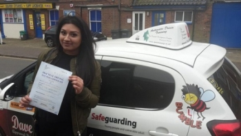 Congratulations to Jessey on passin her Automatic Driving Test this afternoon at Norwich MPTC in #Bumble<br />