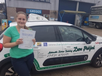 Congratulations to Kelsey who passed her Automatic Driving Test this morning at #Norwich Jupiter Road in #Bumble <br />