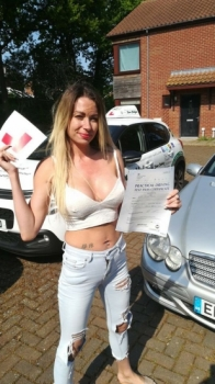 Congratulations to Sarah from #Dereham who Passed her Automatic Driving Test this afternoon at #Norwich in #Bumble #TPDC<br />