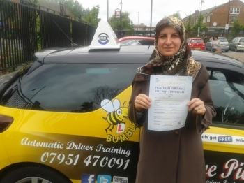 Congratulations to Sohaid on passing her Automatic Driving Test at Norwich MPTC this morning in #Bumble<br />