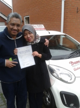 Congratulations to Zamira who passed her Automatic Driving Test at Norwich MPTC this morning with a great drive Thanks for the malasian coffee I look forward to lessons in the future with your husband who snuck into this pic lol all the best for the future remember to Stay Safe <br />
